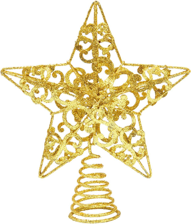 ANECO 10 Inches Metal Glittered Tree Philadelphia Mall Christmas Topper Max 58% OFF Treet Star