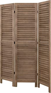 MyGift 3-Panel Rustic Dark Brown Wood Louvered Folding Privacy Screen Room Divider