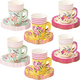 Talking Tables 24 Count Truly Scrumptious Party Vintage Floral Tea Cups and Saucer Sets
