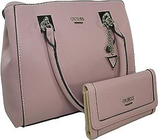 New Guess Logo Purse Satchel Hand Bag Crossbody & Wallet Set 2 Piece Pink Peony