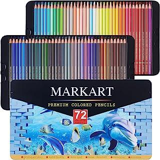 مجموعه مداد رنگی ممتاز MARKART 72 ، ایده آل برای طراحی کتابهای رنگ آمیزی هنری طرح بندی سایه ، هسته های سربی سری نرم هنرمند ، مداد هنرمند پر جنب و جوش برای مبتدیان