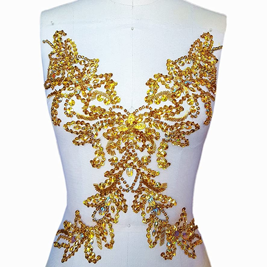 Sparkle Handcrafted Large Flower Crystals Rhinestones Sew on Trim Applique Bridal Wedding Dress Beaded Patch DIY for Prom Ball Party Dresses Decoration (Yellow)