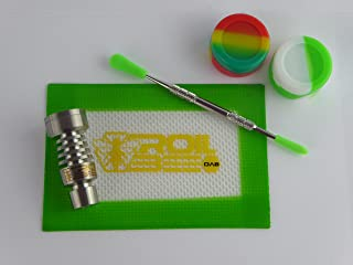 420vente. Mini DAB Set domeless 14/18mm qualité 2Ti Titane Vernis à ongles + Tapis en silicone, bocaux en silicone et H...
