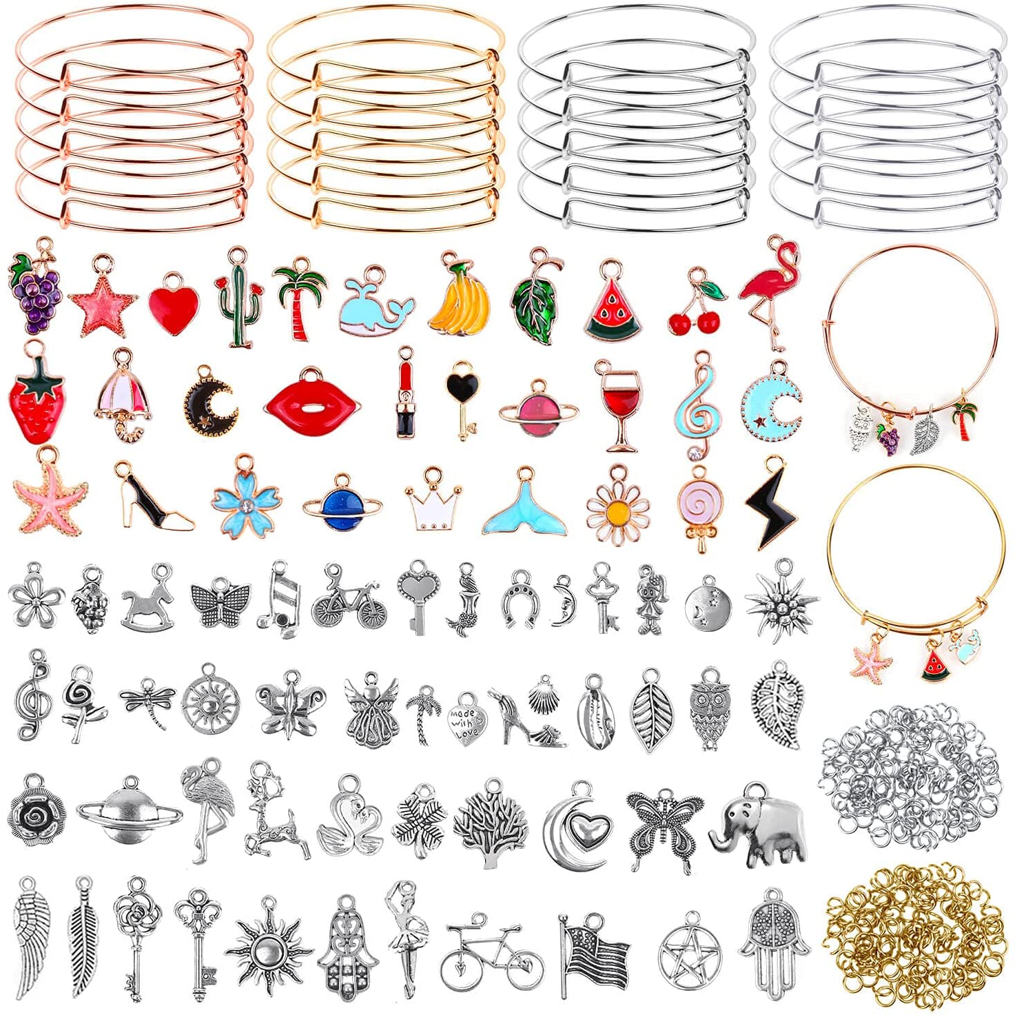 300Pcs Expandable Bangle Free Shipping Excellent New Bracelets with Charms Ban Flasoo 20Pcs