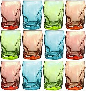 Bormioli Rocco Trinkgläser   farbig   6-teiliges Set   300ml   blau   Glas   11 x 7,5 x 7,5 cm   Außergewöhnliche Gläser - geknitterte Design