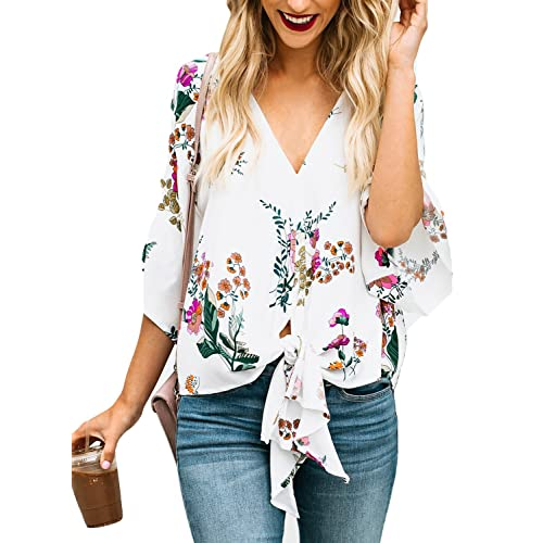 306aa2ab54805a FARYSAYS Women's Summer Short Sleeve Floral Print V Neck Tie Knot Front T- Shirt Tops