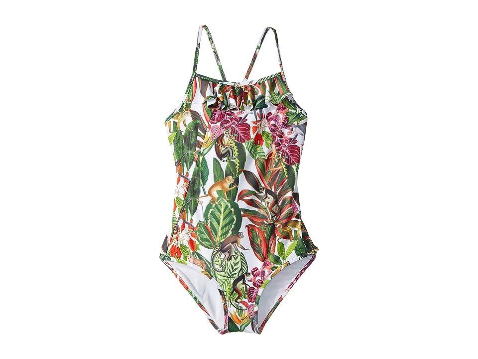 Oscar de la Renta Childrenswear Jungle Monkeys Ruffle Swimsuit (Toddler/Little Kids/Big Kids) (Jungle Green) Girl