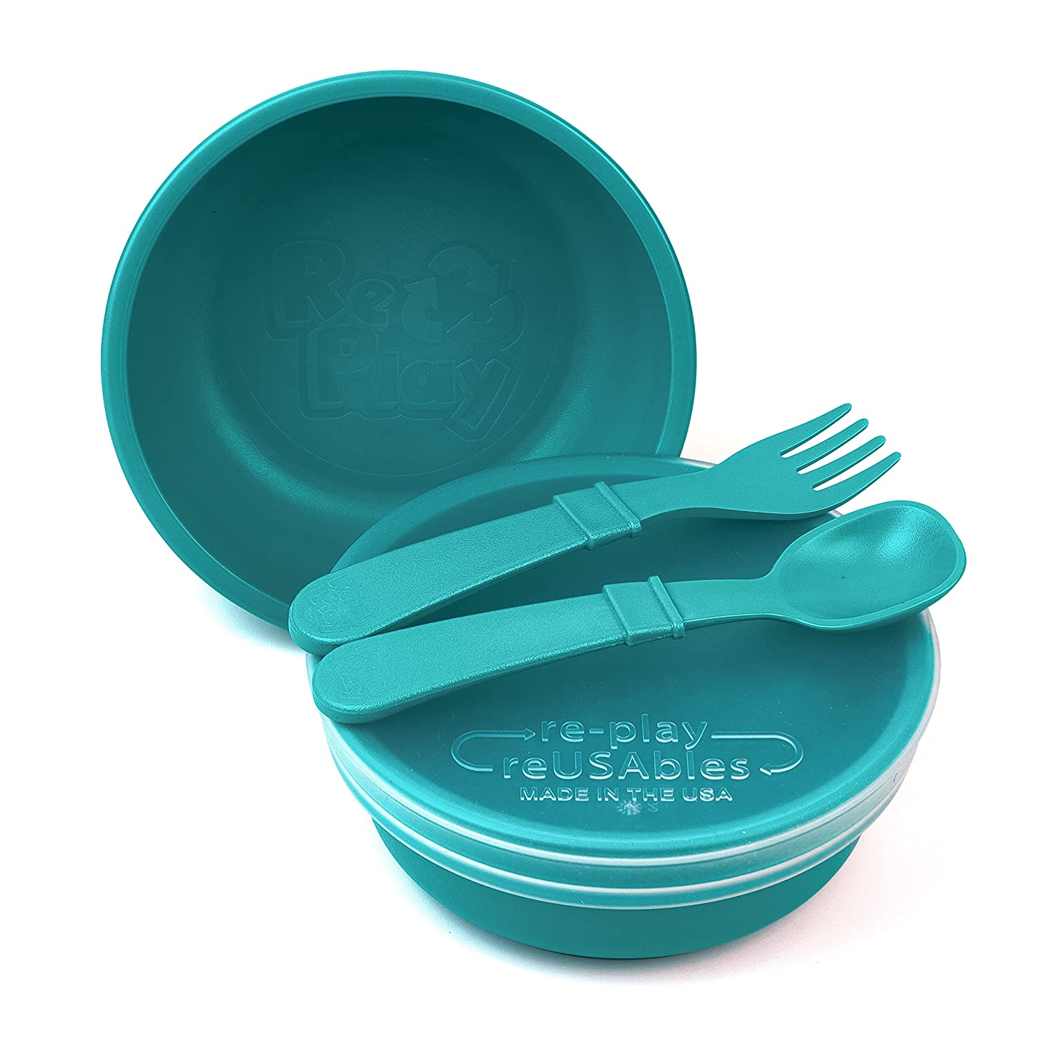 RE-PLAY Made in USA 5 Piece Toddler Feeding Max 71% OFF Set of Wide Ba 2 Free shipping / New