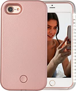 iPhone 7 Case, iPhone 8 Case, AUYOUWEI LED Illuminated Selfie Light Case Cover [Rechargeable] Light Up Luminous Selfie Flashlight Cell Phone Case for iPhone 7/8 (Rose Gold)