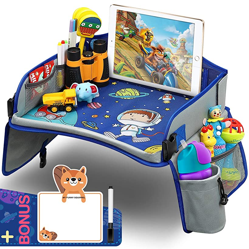 Kids Travel Tray, Car Seat Travel Tray with Colorful Space Top Toddler Car Seat Activity Tray More Organizer Pockets Large iPad & Cup Holder Car?Seat?Table for Stroller Airplane