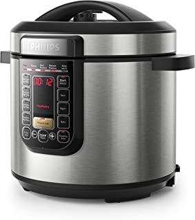 Philips Viva Collection All in One Multi Cooker/Pressure Cooker/Slow Cooker with Anti-Scratch ProCeramic+ Pot, 6L, 1000W, ...
