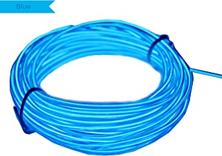 Amicc El Wire 5m 15ft Blue Neon Light Neon Glowing Strobing Electroluminescent Wire for Cosplay Dress Halloween Christmas Party Decoration