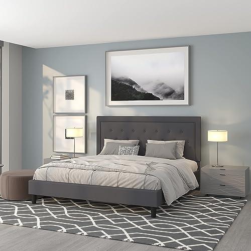 Flash Furniture Roxbury King Size Tufted Upholstered Platform Bed in Dark Gray Fabric
