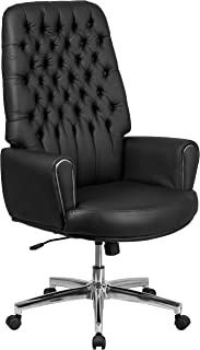 Flash Furniture High Back Traditional Tufted Black Leather Executive Swivel Office Chair with Silver Welt Arms