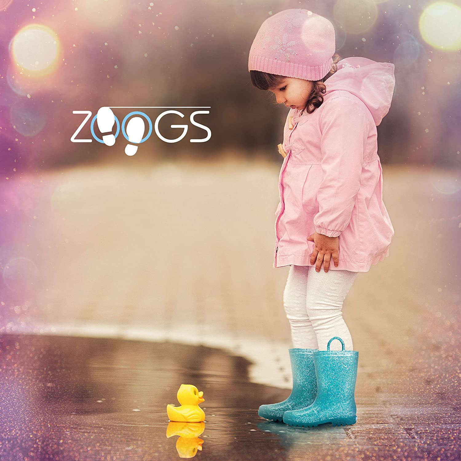 ZOOGS Kids Glitter Rain Boots for Girls and Toddlers