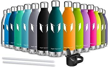 Super Sparrow Botella de Agua aislada al vacío de Acero Inoxidable, diseño de Pared Doble - 500ml & 750ml - Sin BPA Gorra Deportiva con Gorra estándar - para Correr, Gimnasio, Yoga, Ciclismo