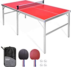 GoSports 6'x3' Mid-size Table Tennis Game Set | Indoor / Outdoor Portable Table..
