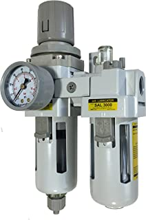 PneumaticPlus SAU3010M-N03G 2 Piece Compressed Air Filter Regulator Lubricator Combination, 3/8