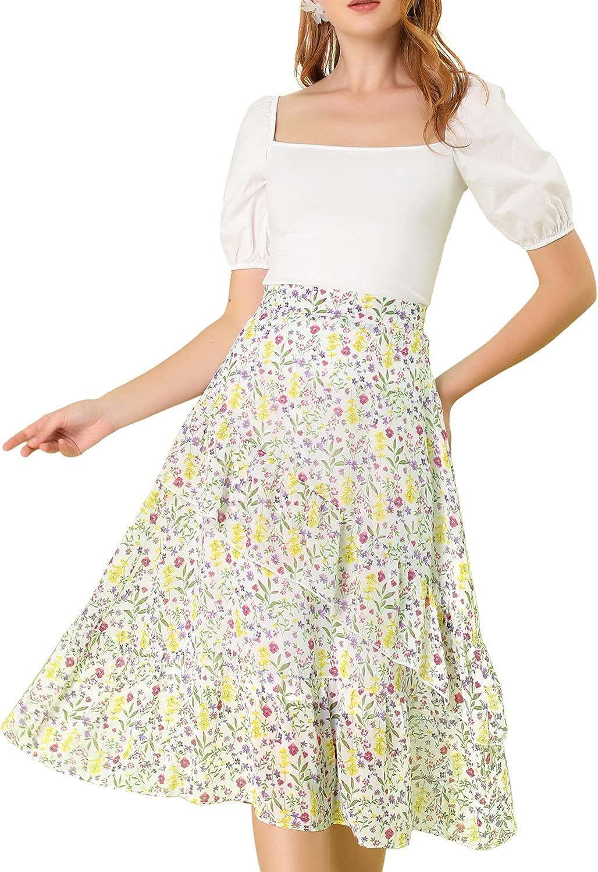 Allegra K Women's Floral A-Line Elastic Back Ruffle Hem Tiered Flowy Midi Skirt