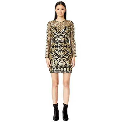 Nicole Miller Scroll Embroidery Long Sleeve Illusion Dress (Black/Gold) Women