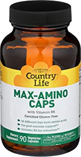 Sponsored Ad - Country Life Max-Amino with B-6 (Blend of 18 Amino Acids), Vegetarian Capsules, 90-Count