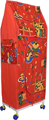 Kuber Industries Multipurpose Plastic Printed Foldable Toy Box/Wardrobe Storage Almirah for Kids with 5 Shelves (Red)-KUBMART1157