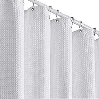 Bathway Waffle Shower Curtain, Heavy Duty Fabric Shower Curtains with Waffle Weave, Hotel Quality Bathroom Polyester Honey...