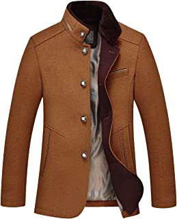 chouyatou Men's Gentle Band Collar Single Breasted Wool Blend Pea Coat
