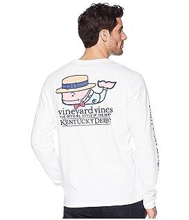 Kentucky Derby Long Sleeve Boater Whale Pocket T-Shirt
