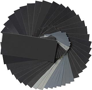 Aewio サンドペーパー 紙やすり 耐水ペーパー 研磨紙 木工 ペーパー 研磨用(320 400 600 800 1000 1200 1500 2000 2500 3000 5000 7000 各4枚) (48枚入り #320 - #7000)