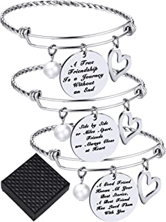 3 Pieces Friendship Bangle Bracelets Adjustable Inspirational Friend Bracelet Stainless Steel Jewelry for Christmas Birthday Gifts