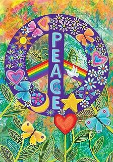 "Briarwood Lane Peace Floral House Flag Primitive Everday 28"" x 40"""