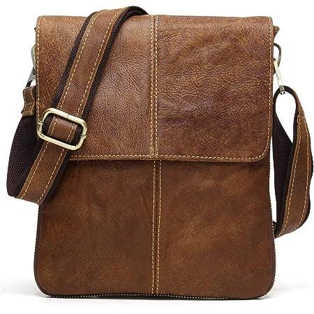 BAIGIO Bandolera Hombre Piel Vintage, Bolso de Hombro Cuero Crossbody Bag para Trabajos Negocios, Marrón