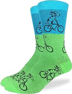 Men's Green Dog on Bike Crew Socks - Green, Adult Shoe Size 7-12