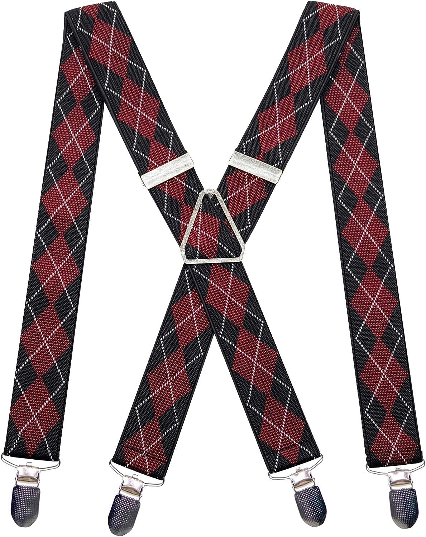 Mens X Back 4 Sturdy Clips Red Black Suspenders 1.4 Inch Width Heavy Duty Braces