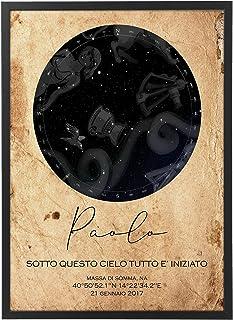 Mappa Stellare Personalizzata con Cornice - Quadro varie dimensioni vari colori Made in Italy Star Poster Mod.003