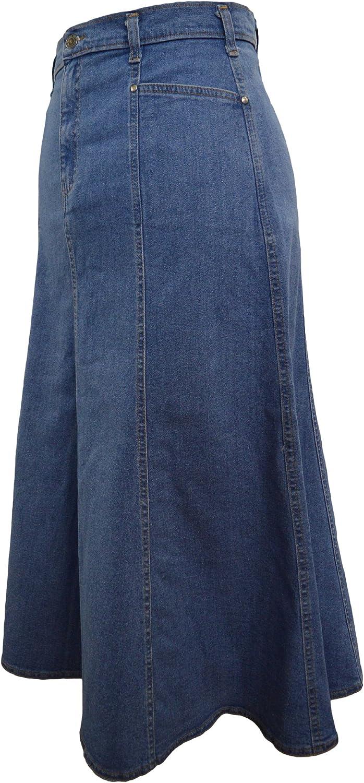 Ice Cool Ladies Long Flared Stonewash Stretch Denim Skirt - Sizes 4 to 26, in 30