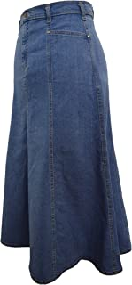 "Ice Cool Ladies Long Flared Stonewash Stretch Denim Skirt - Sizes 10 to 22, 30"" & 35"" Lengths"