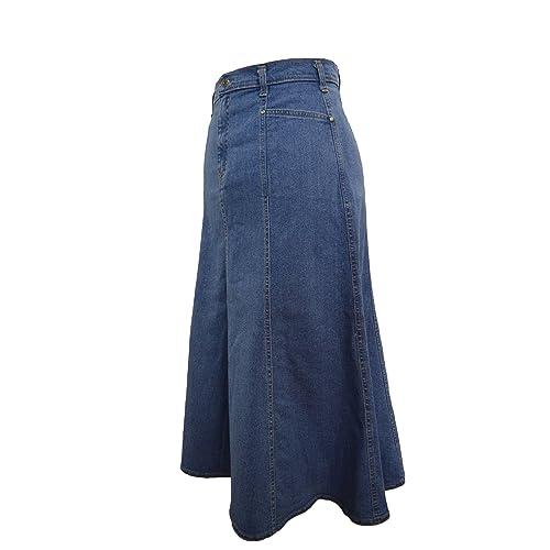 ef33fa2f8ad Ladies Long Flared Stonewash Stretch Denim Skirt - Sizes 10 to 22