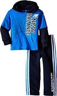 New Balance Little Boys' 2 Piece Drop Down Hoodie and Pant Set