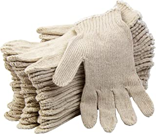 [12 Pairs, Large] Polyester Cotton Knit Safety Protection Grip Work Gloves for Painter Machanic Industrial Warehouse Gardening, Men Women, Natural Beige - 24 Count Bulk