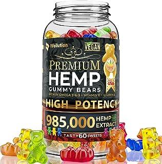 Wellution Hemp Gummies 985,000 High Potency - Fruity Gummy Bear with Hemp Oil, Natural Hemp Candy Supplements for Sorenes...