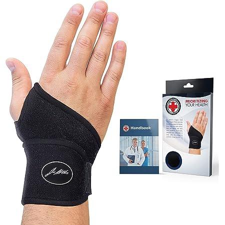 Dr. Arthritis Doctor Developed Copper Wrist Brace/Carpal Tunnel/Wrist Support/Wrist Splint/Hand Brace -F.D.A. Medical Device & Doctor Handbook-Night Support for Women Men-Right & Left hands (Single)