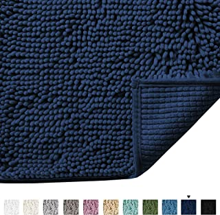 Plush Microfiber Bath Rugs Chenille Floor Mat Ultra Soft Washable Bathroom Dry Fast Water Absorbent Bedroom Area Rugs Kitchen Rugs Non Skid, 17 x 24 inches, Navy Rug