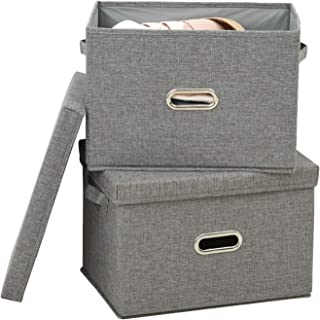 Polecasa Storage Bins with Lid-2 Pack-Removable Lid, Collapsible, Stackable, Linen Fabric. Storage Cubes Boxes Containers Organizer Basket for Home, Office, Bedroom, Closet, and Shelves(Medium| 26L)