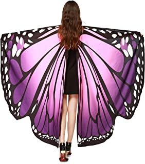 NORA TWIPS Schmetterling Kostüm Frauen Weiches Gewebe Schmetterlingsflügel Schal Fee Damen Nymph Pixie Kostüm Zubehör für Show/Daily/Party