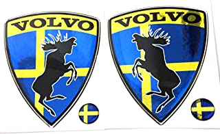 Alstickers! Prancing Moose (ELK) Volvo Set 2 Pieces car Stickers, Polyurethane Resin Metallic Film 3.11