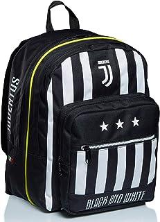 Mochila doble con compartimento Juventus, Best Match, blanco y negro, para la escuela y el tiempo libre