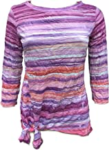 David Cline Online Woman's Crew-Neck Crushed Shirt. Orchid Design