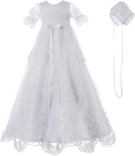 Baby Girls Baptism Delicate Embroideried Gown with Bonnet...